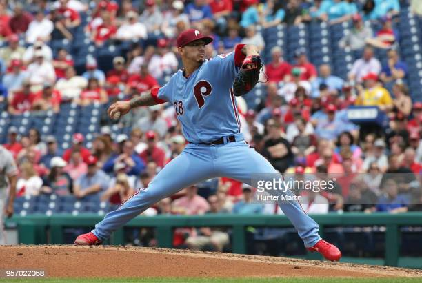 Starting pitcher Vince Velasquez of the Philadelphia Phillies throws a pitch in the third inning during a game against the San Francisco Giants at...