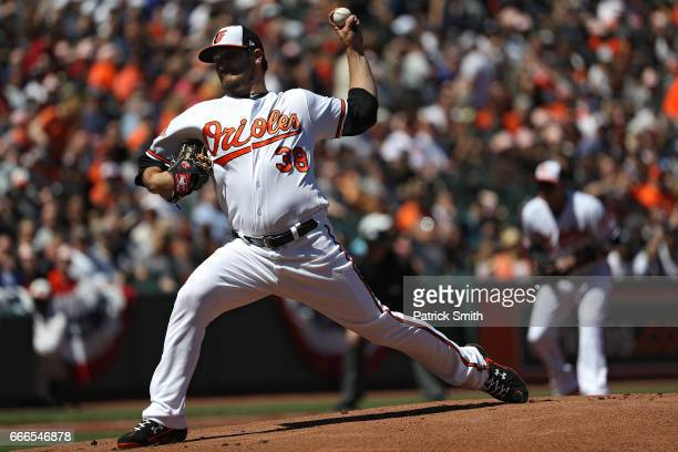 Starting pitcher Wade Miley of the Baltimore Orioles works the first inning against the New York Yankees at Oriole Park at Camden Yards on April 9...
