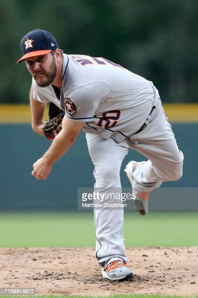 Starting pitcher Wade Miley of the Houston Astros throws in the first inning against the Colorado Rockies at Coors Field on July 03 2019 in Denver...