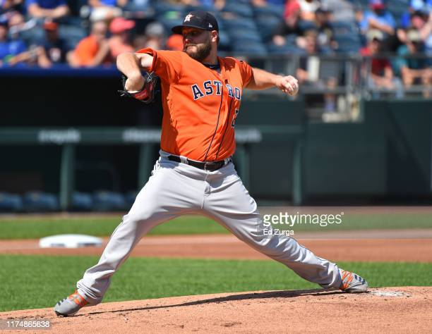 Starting pitcher Wade Miley of the Houston Astros throws in the first inning against the Kansas City Royals at Kauffman Stadium on September 15 2019...