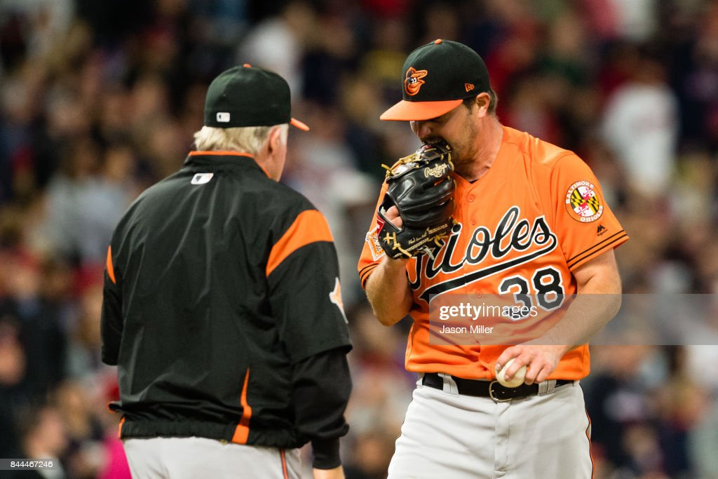 Starting pitcher Wade Miley #38 reacts as manager Buck Showalter #26 of the Baltimore Orioles comes to remove him from the game during the sixth inning against the Cleveland Indians at Progressive Field on September 8, 2017 in Cleveland, Ohio.