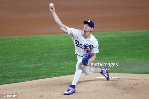 Starting pitcher Walker Buehler of the Los Angeles Dodgers throws against the San Diego Padres during Game One of the National League Divisional...