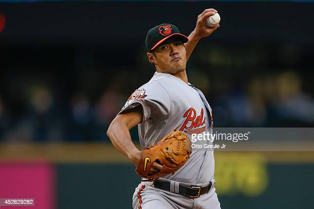 Starting pitcher Wei-Yin Chen of the Baltimore Orioles pitches in the first inning against the Seattle Mariners at Safeco Field on July 24, 2014 in...