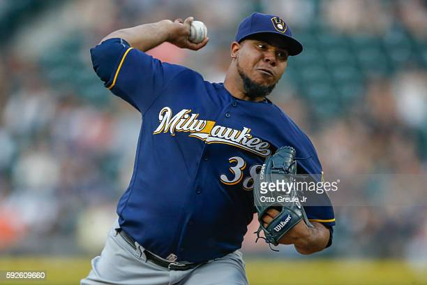 Starting pitcher Wily Peralta of the Milwaukee Brewers pitches against the Seattle Mariners in the fourth inning at Safeco Field on August 20 2016 in...