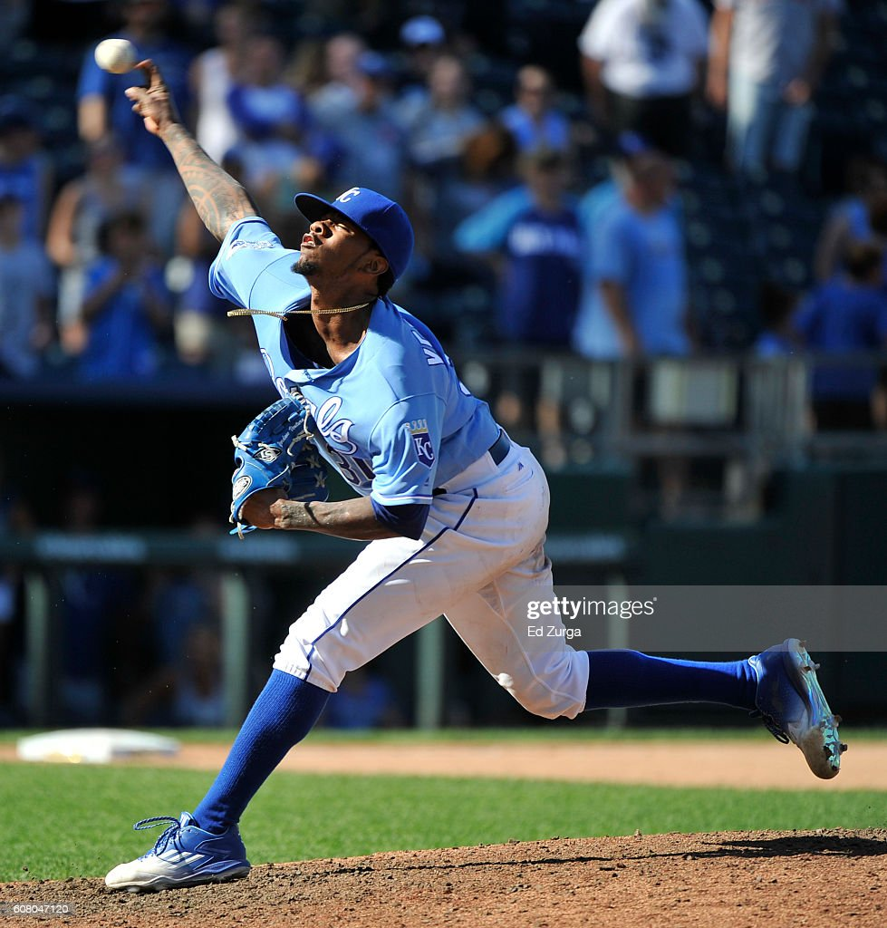 Starting pitcher Yordano Ventura #30 of the Kansas City Royals throws in the ninth inning against the Chicago White Sox at Kauffman Stadium on September 19, 2016 in Kansas City, Missouri.