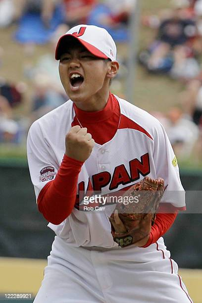 Starting pitcher Yoshiki Suzuki of the Japan team from Hamamatsu City, Japan celebrates after defeating the Mexico team from Mexicali, Baja...