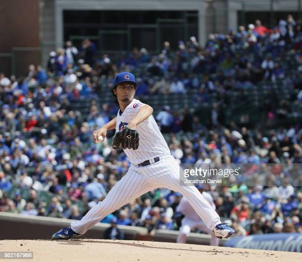 Starting pitcher Yu Darvish of the Chicago Cub dleivers the ball against the Milwaukee Brewers at Wrigley Field on April 27 2018 in Chicago Illinois