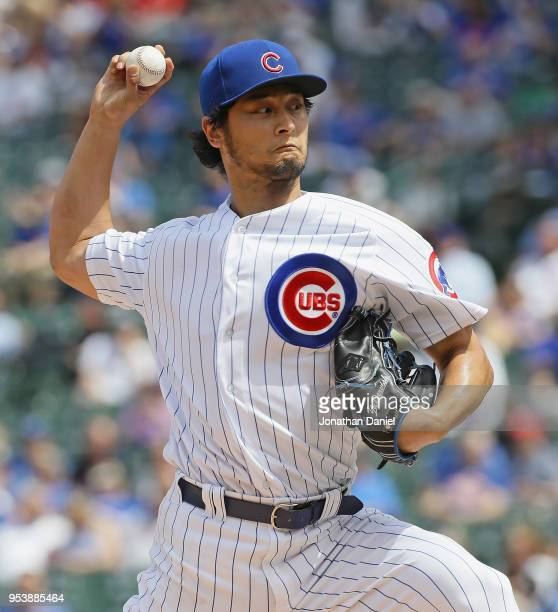Starting pitcher Yu Darvish of the Chicago Cubs delivers the ball against the Colorado Rockies at Wrigley Field on May 2 2018 in Chicago Illinois