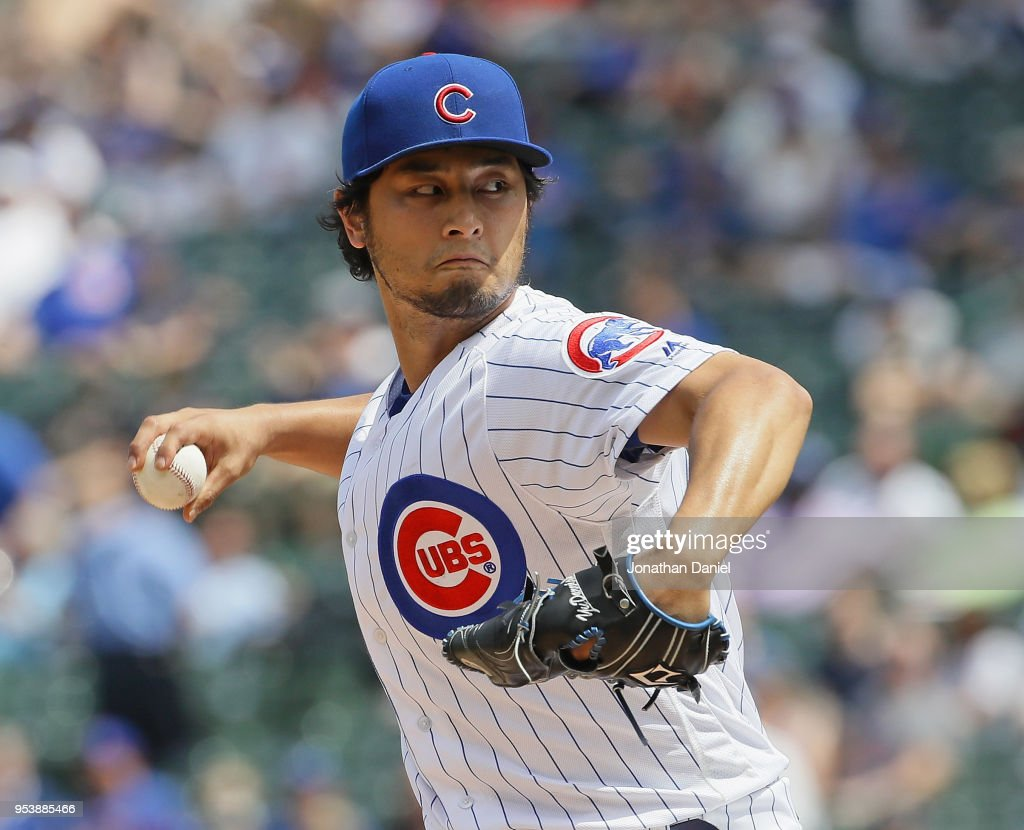 Starting pitcher Yu Darvish #11 of the Chicago Cubs delivers the ball against the Colorado Rockies at Wrigley Field on May 2, 2018 in Chicago, Illinois.
