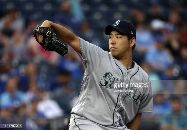 Starting pitcher Yusei Kikuchi of the Seattle Mariners pitches during the game against the Kansas City Royals at Kauffman Stadium on April 10 2019 in...