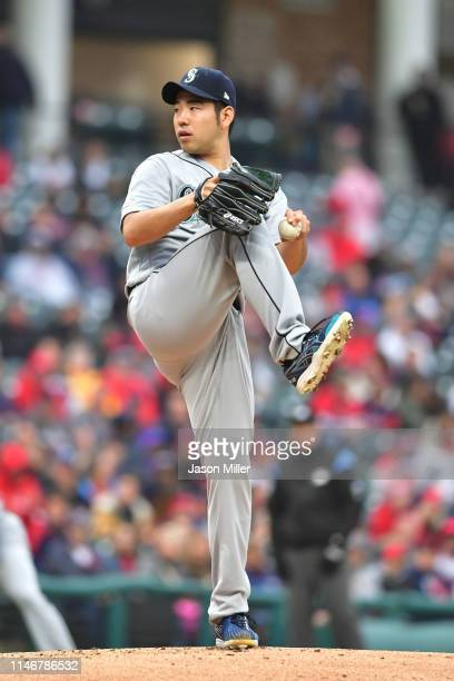 Starting pitcher Yusei Kikuchi of the Seattle Mariners pitches during the first inning against the Cleveland Indians at Progressive Field on May 03...