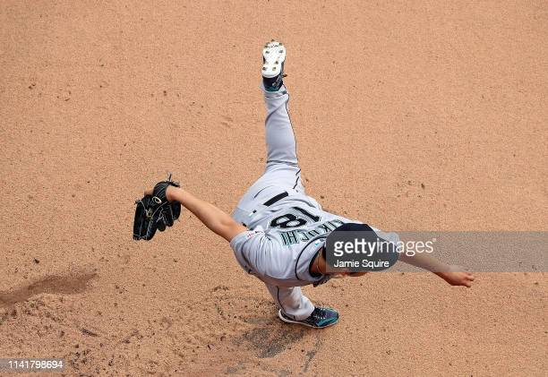 Starting pitcher Yusei Kikuchi of the Seattle Mariners warms up in the bullpen prior to the game against the Kansas City Royals at Kauffman Stadium...