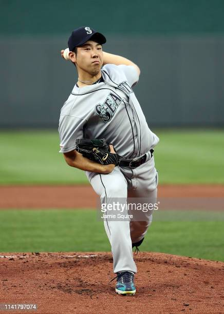 Starting pitcher Yusei Kikuchi of the Seattle Mariners warms up prior to the game against the Kansas City Royals at Kauffman Stadium on April 10 2019...