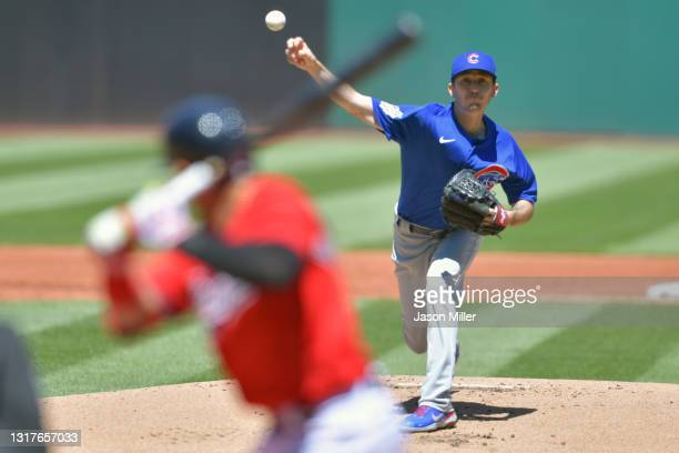 Starting pitcher Zach Davies of the Chicago Cubs pitches during the first inning to Cesar Hernandez of the Cleveland Indians at Progressive Field on...