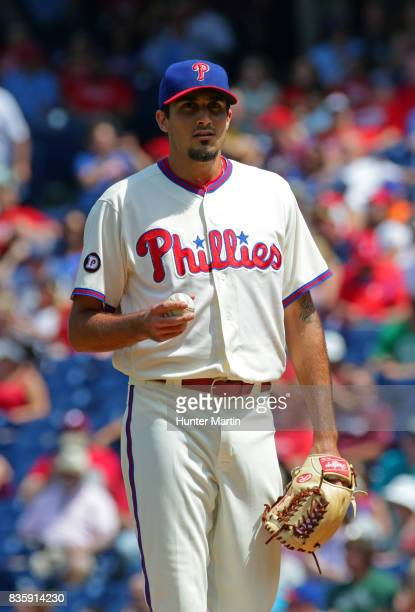 Starting pitcher Zach Eflin of the Philadelphia Phillies during a game against the New York Mets at Citizens Bank Park on August 13 2017 in...
