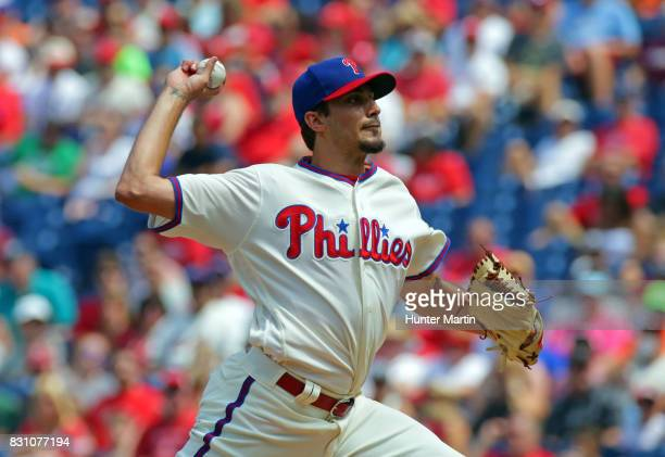 Starting pitcher Zach Eflin of the Philadelphia Phillies throws a pitch in the first inning during a game against the New York Mets at Citizens Bank...