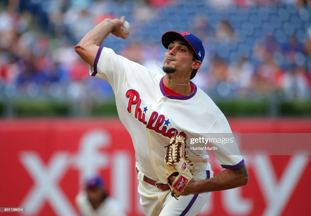 Starting pitcher Zach Eflin #56 of the Philadelphia Phillies throws a pitch in the fourth inning during a game against the New York Mets at Citizens Bank Park on August 13, 2017 in Philadelphia, Pennsylvania. The Mets won 6-2.