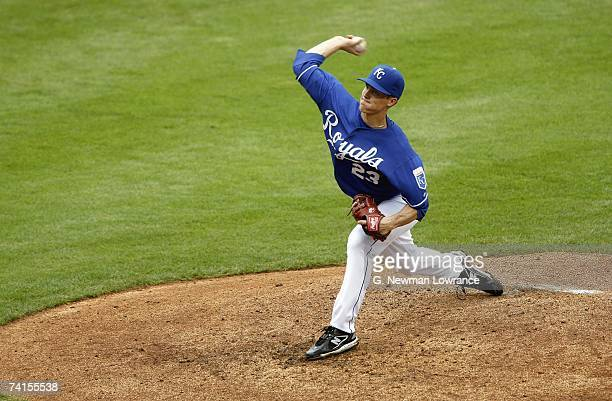 Starting pitcher Zach Greinke of the Kansas City Royals throws a pitch against the Detroit Tigers at Kauffman Stadium May 6 2007 in Kansas City...