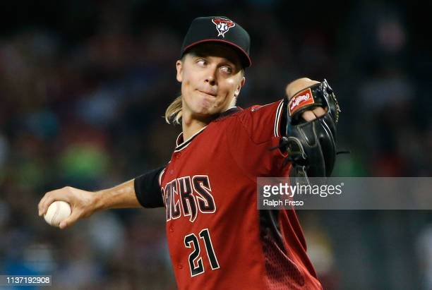 Starting pitcher Zack Greinke of the Arizona Diamondbacks pitches against the San Diego Padres during the first inning of an MLB game at Chase Field...