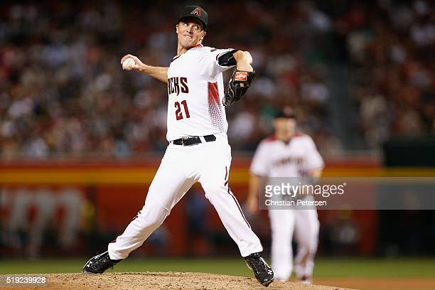 Starting pitcher Zack Greinke of the Arizona Diamondbacks pitches during the MLB opening day game against the Colorado Rockies at Chase Field on...