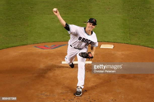 Starting pitcher Zack Greinke of the Arizona Diamondbacks pitches during the first inning of the National League Wild Card game against the Colorado...