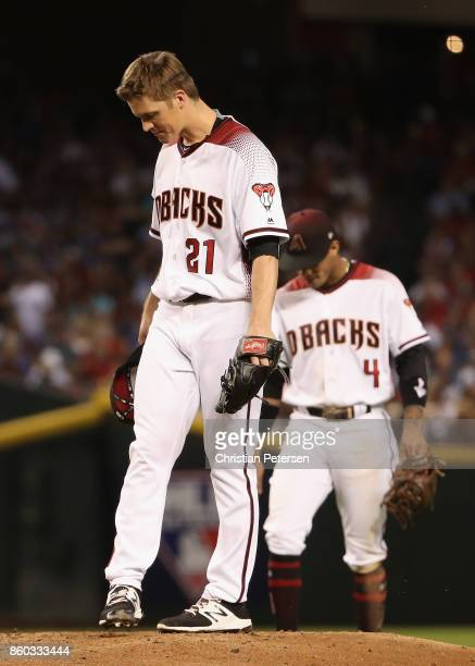 Starting pitcher Zack Greinke of the Arizona Diamondbacks reacts on the mound during the National League Divisional Series game three against the Los...