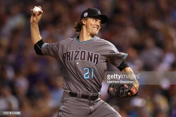 Starting pitcher Zack Greinke of the Arizona Diamondbacks throws in the sixth inning against the Colorado Rockies at Coors Field on September 11 2018...