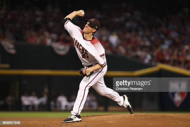 Starting pitcher Zack Greinke of the Arizona Diamondbacks throws during the National League Divisional Series game three against the Los Angeles...