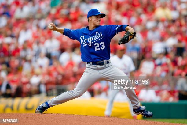 Starting pitcher Zack Greinke of the Kansas City Royals throws against the St Louis Cardinals on June 19 2008 at Busch Stadium in St Louis Missouri...