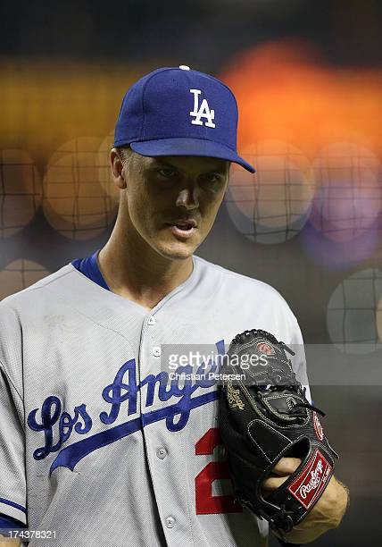 Starting pitcher Zack Greinke of the Los Angeles Dodgers during the MLB game against the Arizona Diamondbacks at Chase Field on July 8 2013 in...