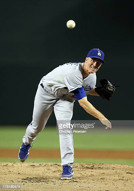 Starting pitcher Zack Greinke of the Los Angeles Dodgers pitches against the Arizona Diamondbacks during the MLB game at Chase Field on July 8 2013...