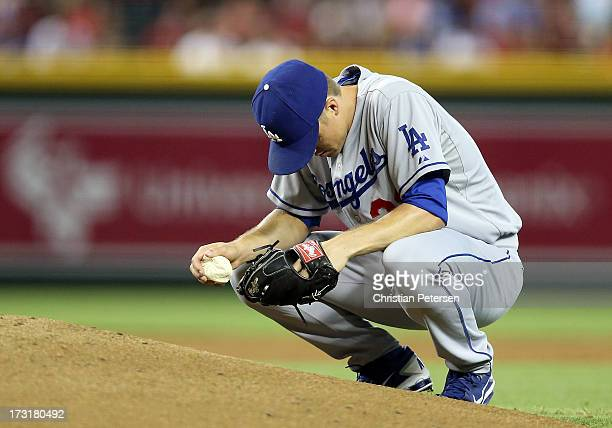 Starting pitcher Zack Greinke of the Los Angeles Dodgers prepares to pitch against the Arizona Diamondbacks during the MLB game at Chase Field on...