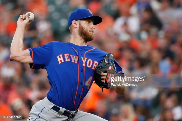 Starting pitcher Zack Wheeler of the New York Mets pitches in the first inning against the Baltimore Orioles at Oriole Park at Camden Yards on August...