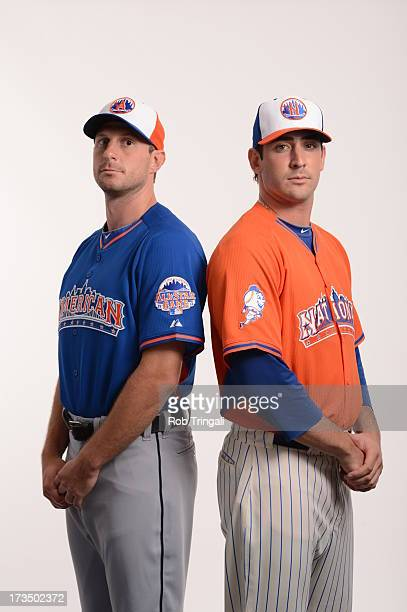 Starting pitchers American League AllStar Max Scherzer of the Detroit Tigers and National League AllStar Matt Harvey of the New York Mets pose for a...