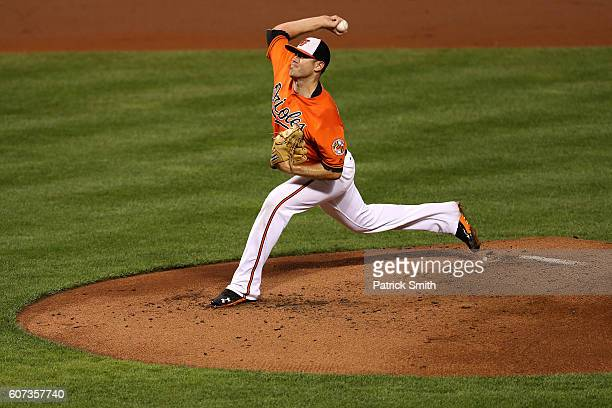 Starting pitcjer Chris Tillman of the Baltimore Orioles works the second inning against the Tampa Bay Rays at Oriole Park at Camden Yards on...