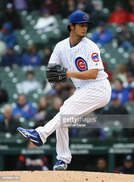 Starting pithcer Yu Darvish of the Chicago Cubs delivers the ball against the Atlanta Braves at Wrigley Field on April 13 2018 in Chicago Illinois