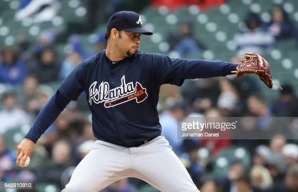 Starting piutcher Anibal Sanchez of the Atlanta Braves delivers the ball against the Chicago Cubs at Wrigley Field on April 13 2018 in Chicago...