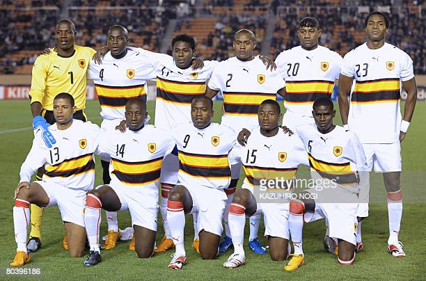 Starting players of Angola National Team pose for the media prior to their U23 friendly match with Japan at the National Stadium in Tokyo on March 27...