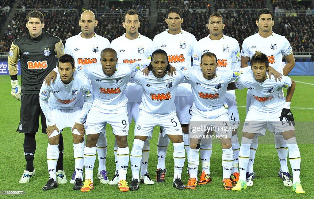 66e63b10b29de Starting players of Santos FC Henrique Borges Arouca Leo Neymar Rafael  Cabral Bruno Rodrigo Edu Dracena
