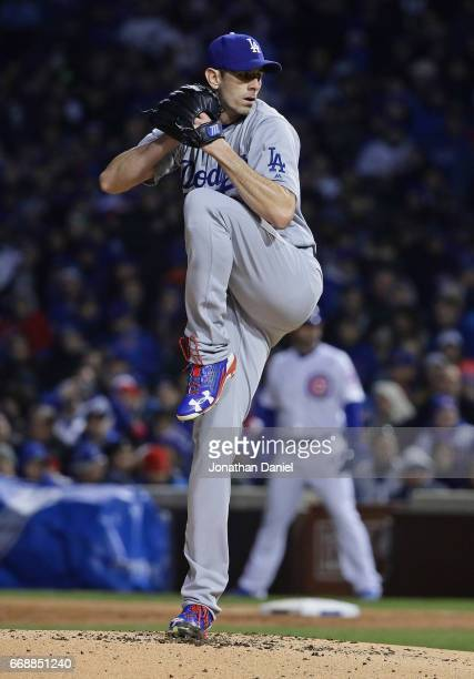 Starting pticher Brandon McCarthy of the Los Angeles Dodgers delivers the ball against the Chicago Cubs at Wrigley Field on April 12 2017 in Chicago...