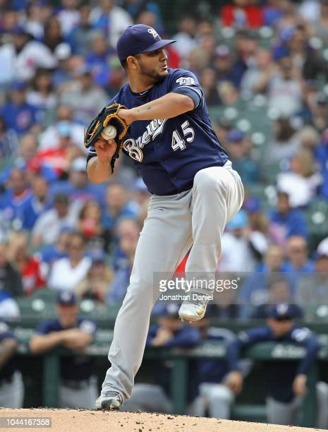 Starting pticher Jhoulys Chacin of the Milwaukee Brewers delivers the ball against the Chicago Cubs during the National League Tiebreaker Game at...