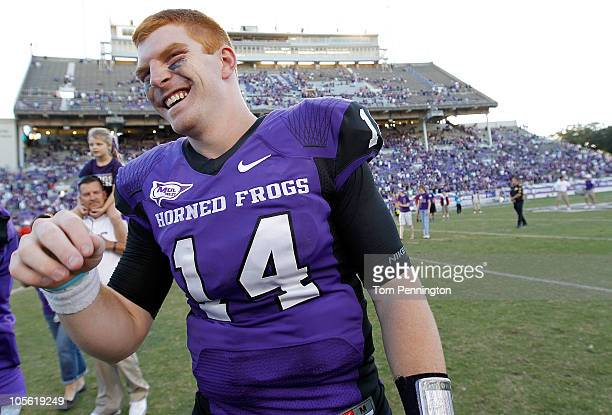 Starting quarterback Andy Dalton of the TCU Horned Frogs after TCU beat the BYU Cougars 313 at Amon G Carter Stadium on October 16 2010 in Fort Worth...