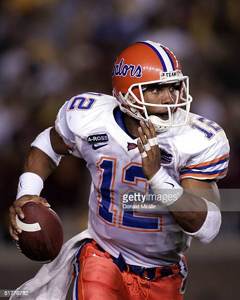 Starting quarterback Chris Leak of the University of Florida Gators scrambles against the Florida State Seminoles during their ACC game on November...