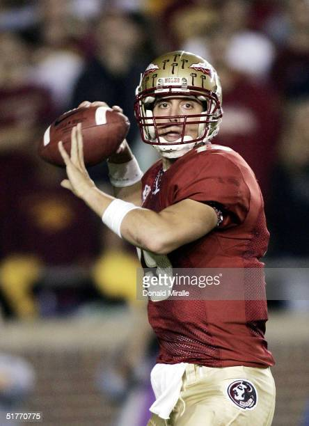 Starting Quarterback Wyatt Sexton of the Florida State Seminols throws the ball against the University of Florida Gators during the 1st half of their...
