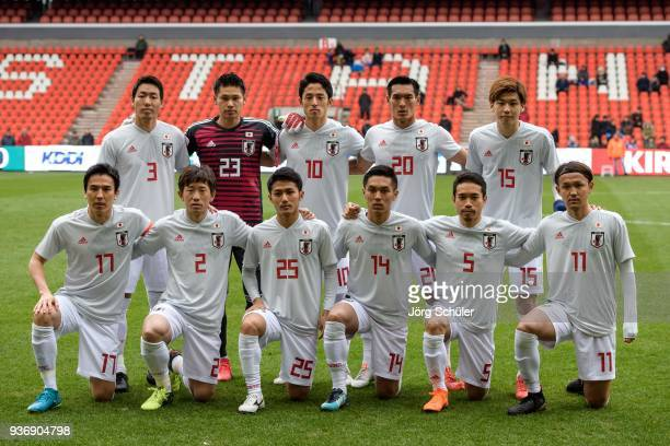 Starting team of Japan during an international friendly between Japan and Mali at the Stade de Sclessin on March 23 2018 in Liege Belgium