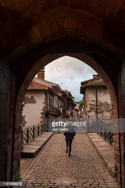 starting the camino de santiago in saint-jean-pied-de-port, france - saint jean pied de port stock photos and pictures