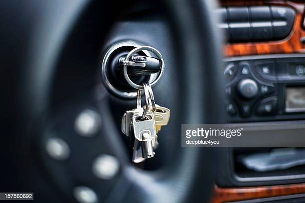 starting the car - car key in ignition lock