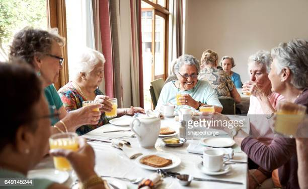 starting their day the cheerful way - retirement community stock pictures, royalty-free photos & images