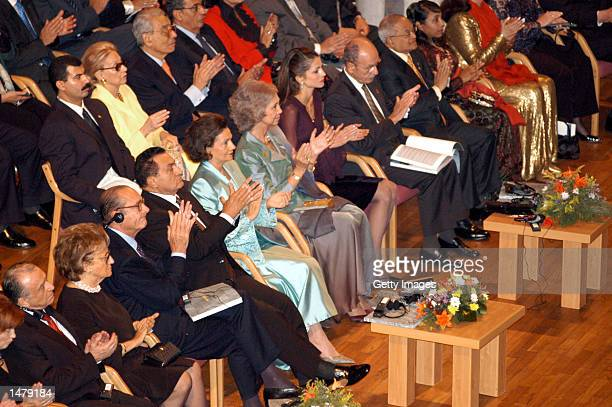 Starting third from left French President Jacques Chirac Egyptian President Hosni Mubarak and wife Suzanne Mubarak Queen Sophia of Spain and Queen...