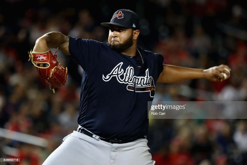 Startingi pitcher Luiz Gohara #64 of the Atlanta Braves throws to a Washington Nationals batter in the fifth inning at Nationals Park on September 13, 2017 in Washington, DC.